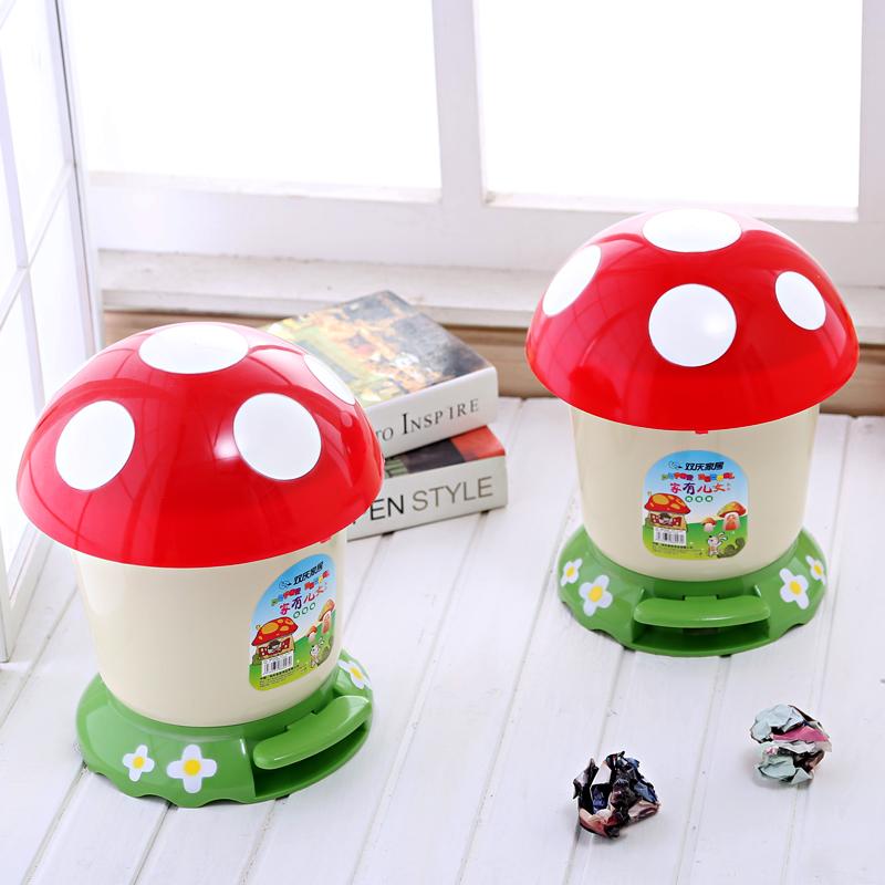 創意蘑菇垃圾桶腳踏垃圾桶有蓋衛生間可愛家用帶蓋廁所垃圾簍小號