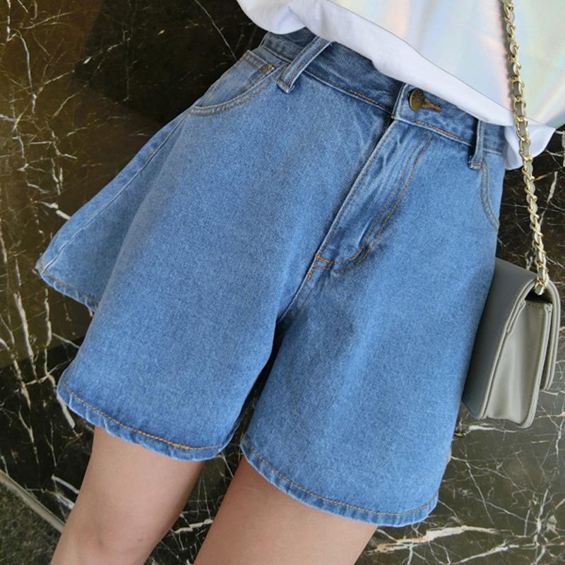2017夏季新款韩版宽松高腰牛仔超短裤女学生学院风休闲阔腿裤裙裤