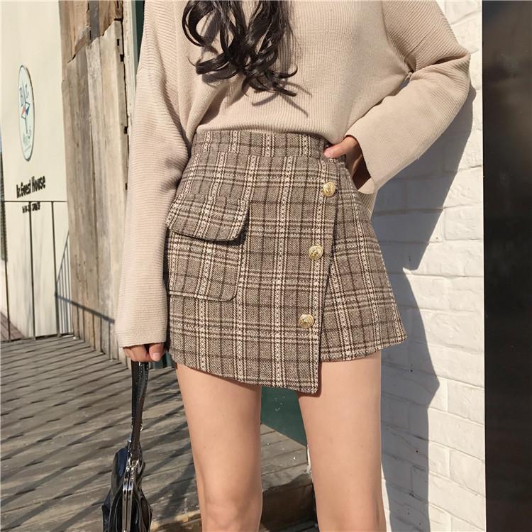 实拍2018港味秋冬不规则气质百搭格纹修身裤裙
