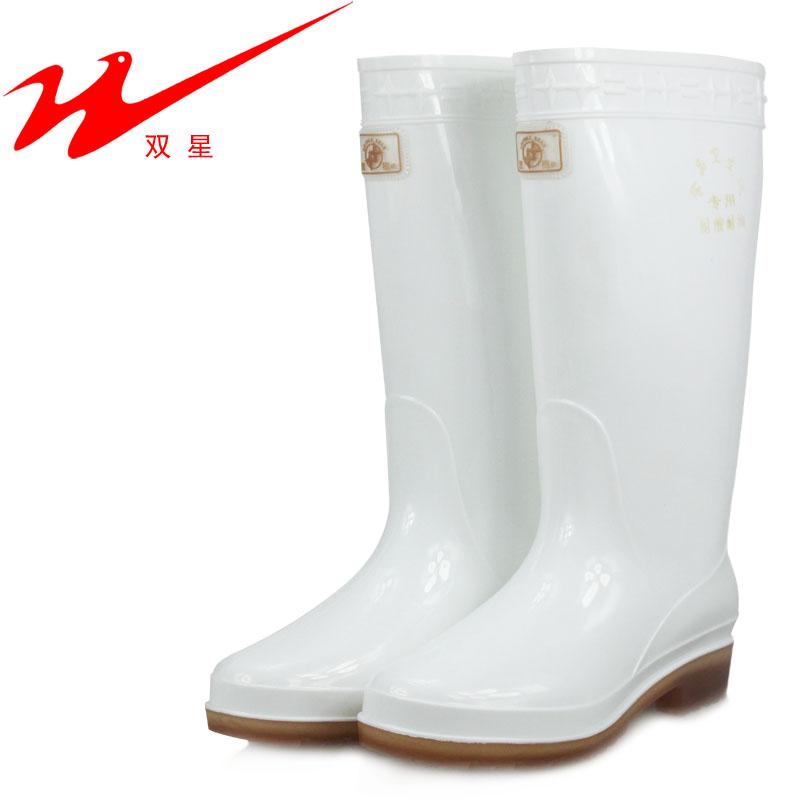 双星中筒食品雨靴餐饮专用白色卫生雨鞋女款高筒防水鞋劳保靴胶鞋