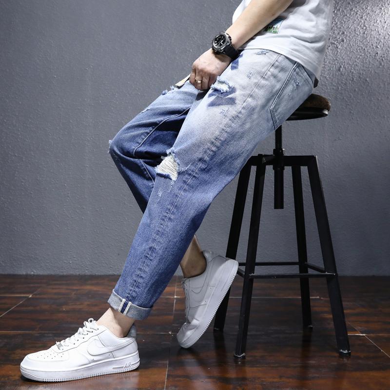 2021夏季牛仔裤男长裤薄款韩版小破洞潮流修身小脚  U8636-P50