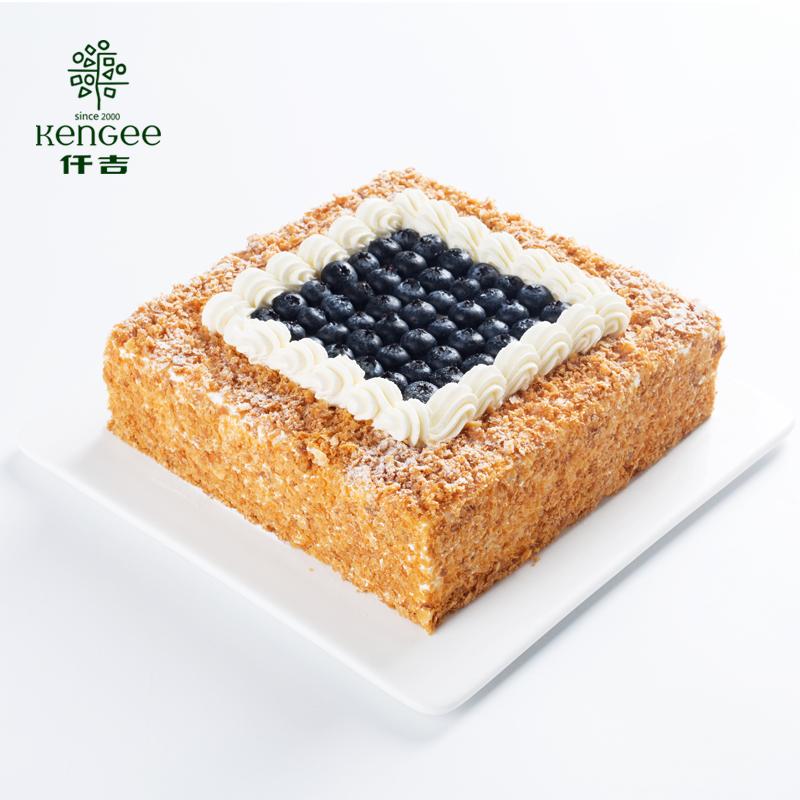 仟吉7系列蓝莓拿破仑生日蛋糕武汉三环内配送至少提前6小时订
