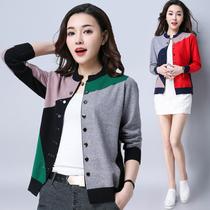 春秋韩版薄款外套 短款双排扣针织衫开衫女 羊毛外搭宽松大码毛衣