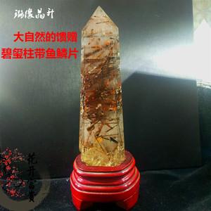 天然水晶柱紅碧璽共生石原石礦石標本稀有風水擺件招財辟邪旺運新