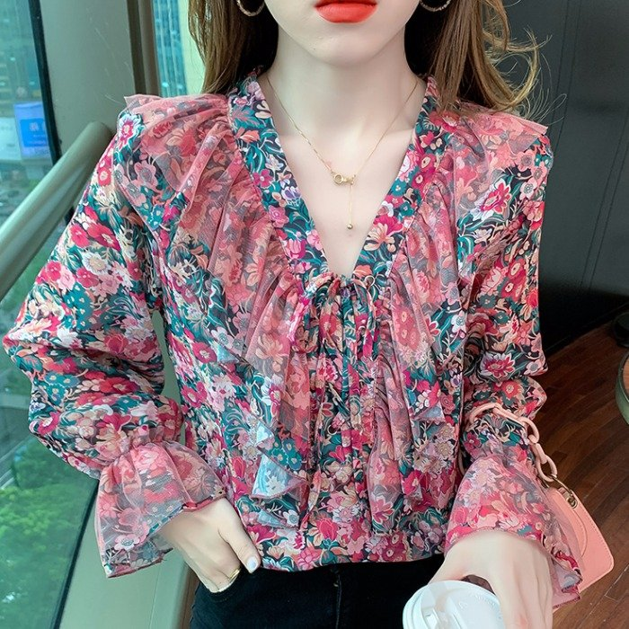 Show tricolor womens Floral Chiffon shirt long sleeve 2021 spring and autumn new V-neck ruffle mesh top loose