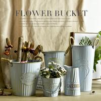【 лето купание 】 ретро синий железный лист фонтаны цветок цветочный горшок цветок магазин декоративный сухие цветы континентальный французский корейский этаж баррель