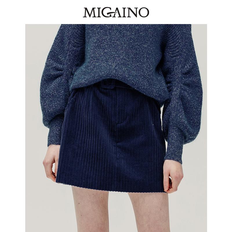 Manyanus new style in autumn of 2019: Retro High waist and buttocks cotton A-line skirt miniskirt mj32ea071