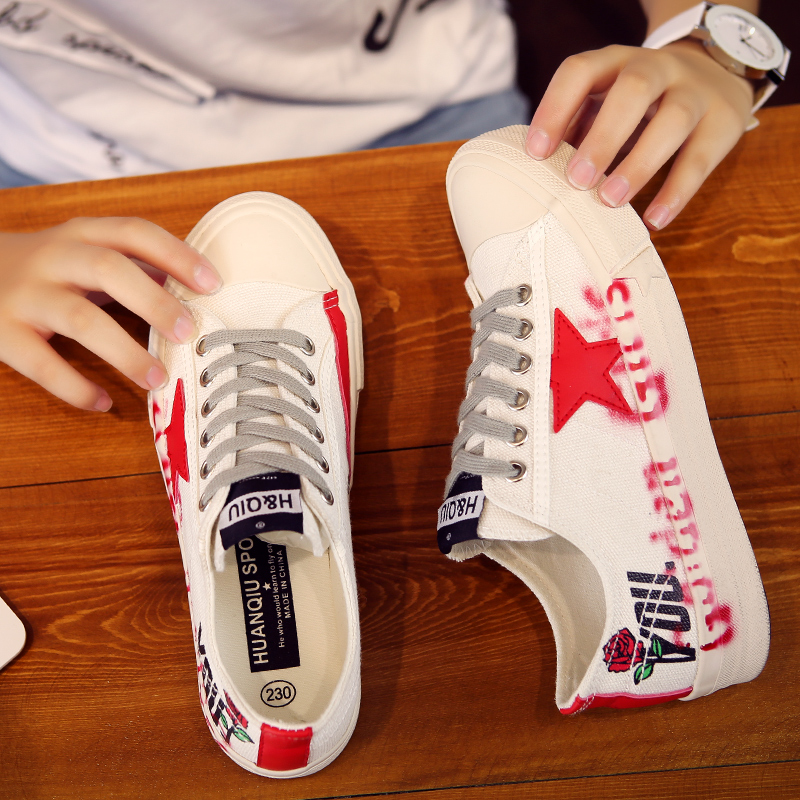 2020 spring new thick soled canvas shoes womens flat shoes Korean sneakers