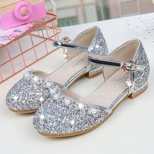 女童凉鞋2020新款时尚春季真皮儿童高跟鞋公主鞋包头水晶鞋演出鞋