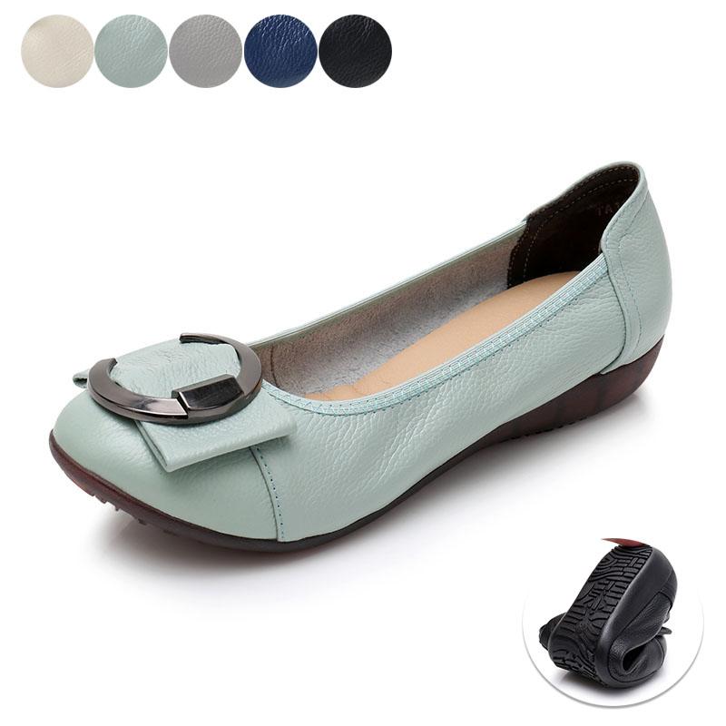 妈妈鞋软底女舒适真皮单鞋平底一脚蹬蝴蝶结中年休闲鞋子浅口女鞋