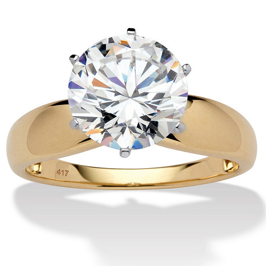 10K Gold / cubic zirconia engagement / wedding ring for ladies
