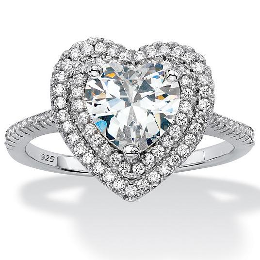 925 Silver Plated Platinum / cubic zirconia (Soviet Union diamond) love engagement lady ring 60180