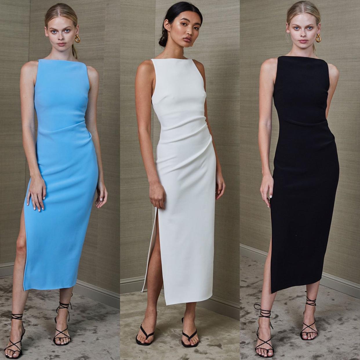 3色升级版!不需要浮夸的装饰 BEC新款修身包身弹力开衩连衣裙