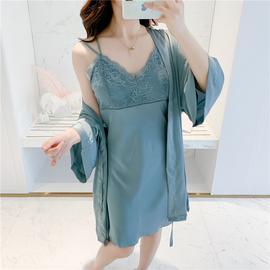 春秋睡衣女性感冰丝吊带睡裙睡袍两件套真丝绸夏季薄款带胸垫新款图片
