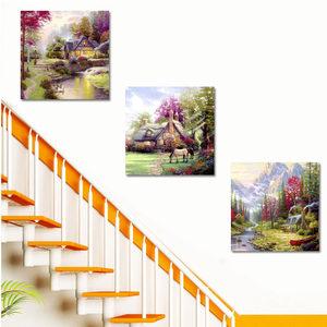 楼梯间装饰画组合田园风格美式乡村现代简约走廊挂画酒店餐厅壁画