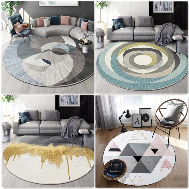 圆形地毯轻奢地垫ins北欧卧室客厅网红现代简约圆型椅子圆可定制