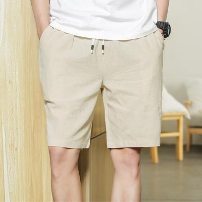 主推 2018新款男士五分短休闲裤夏季男棉麻短裤日系大码K608 p16