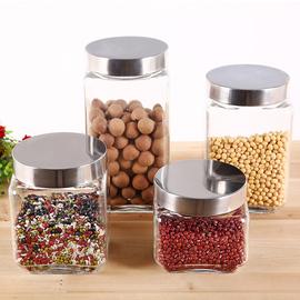厨房无铅玻璃储物罐圆方形五谷杂粮食品收纳盒小密封罐干果茶叶瓶