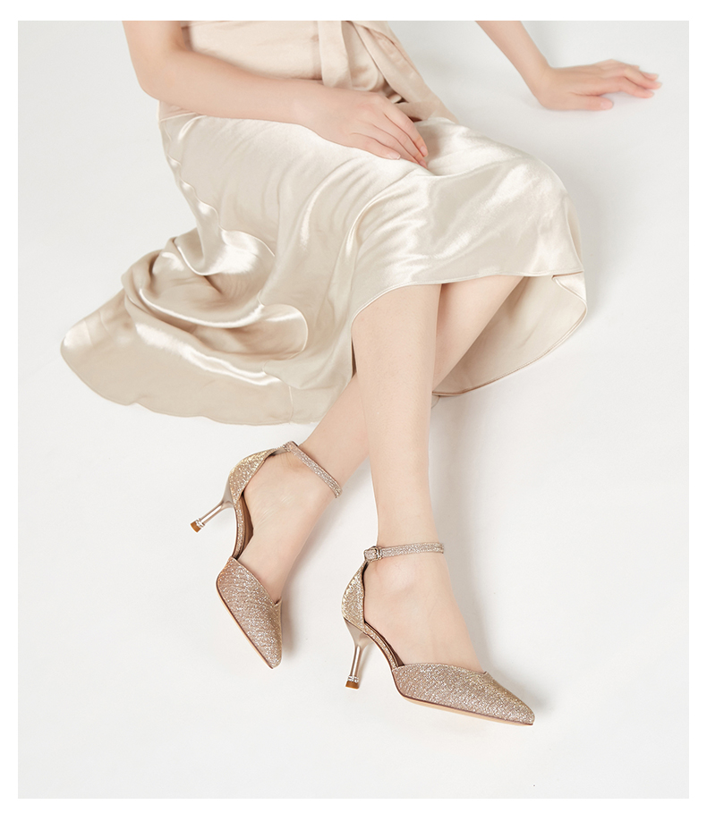 Zhuo shinis spring and summer two wear bag pointed one line buckle belt slim heel high heel bright fashion sandals female 153010462