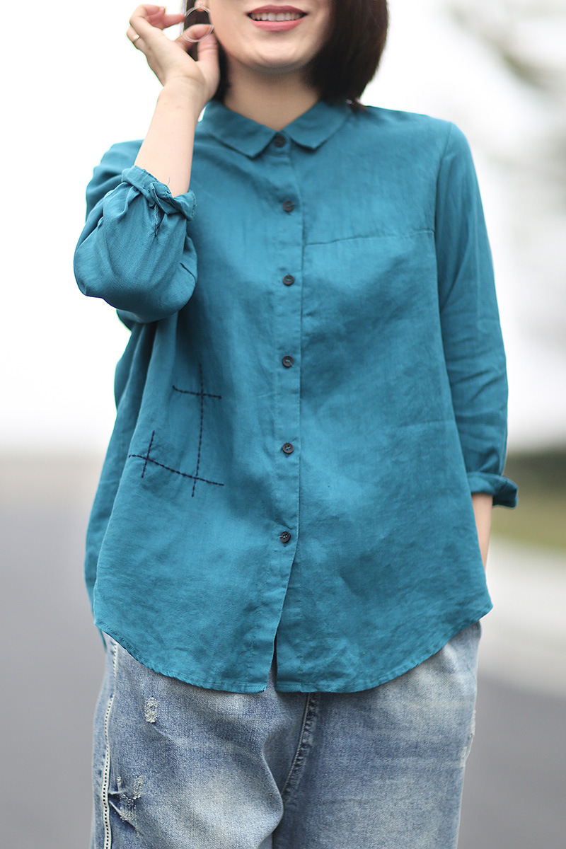 Literature and art leisure bright line embroidery pure color Linen Shirt womens Lapel 8 / s loose and thin cotton and linen womens wear