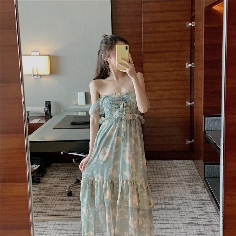 一袭温柔神仙色 天清水儿绿印花吊带荷叶边连衣裙(非品牌)
