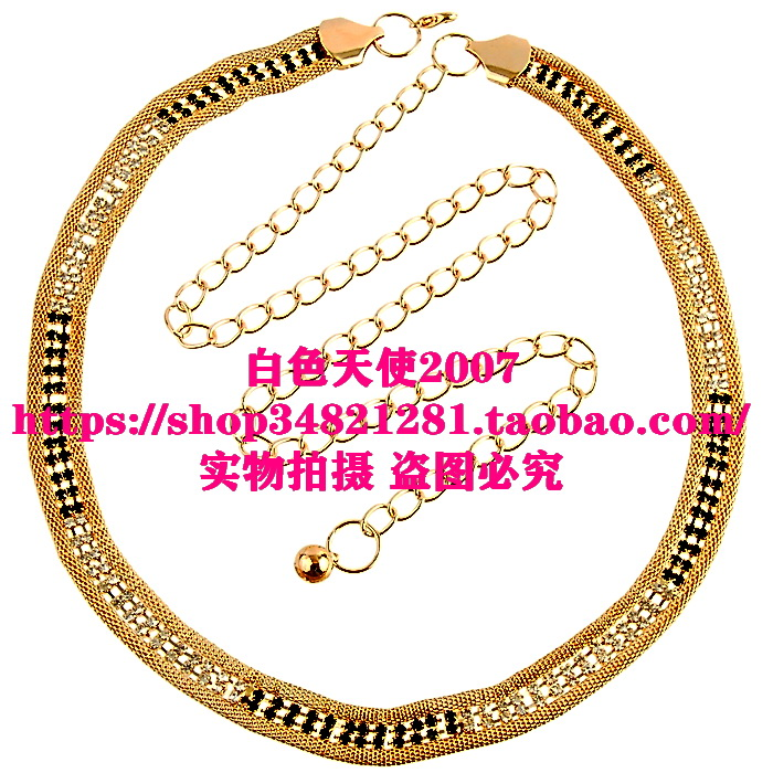 Clearance special fine metal double row two color hollow out diamond jewelry tassel waist chain womens belt waist accessories