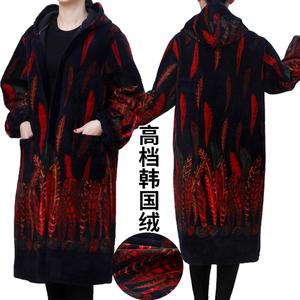 加长加大肥秋冬加绒加厚韩国绒羽绒服罩衣长款围裙工作服外套护衣