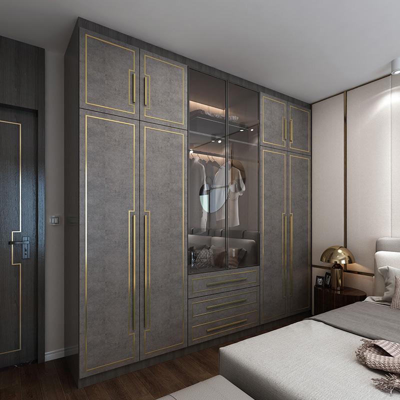 全屋港式轻奢衣柜定制 整体后现代玻璃门大衣柜时尚主卧卧室家具