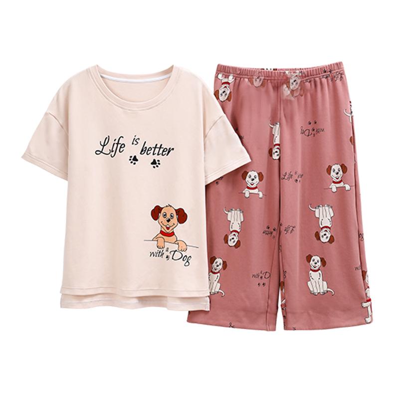 夏季新款女士短袖短裤卡通睡衣套装