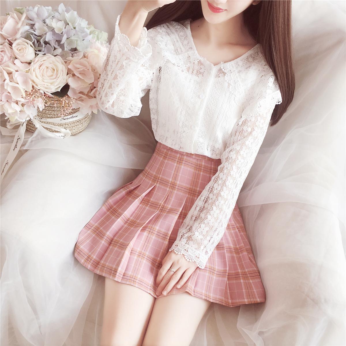 2018秋冬新款小清新甜美韩系白色长袖娃娃领打底蕾丝衫上衣女装仙
