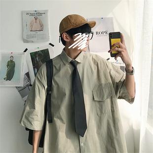 帅气宽松百搭工装 衬衫 男短袖 潮流 送领带夏季 港风休闲衬衣长袖 韩版