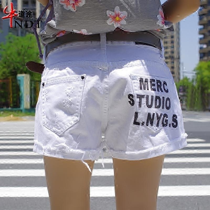 牛道途白色牛仔短裤女宽松阔腿字母印花翻边休闲显瘦热裤夏季三分(非品牌)