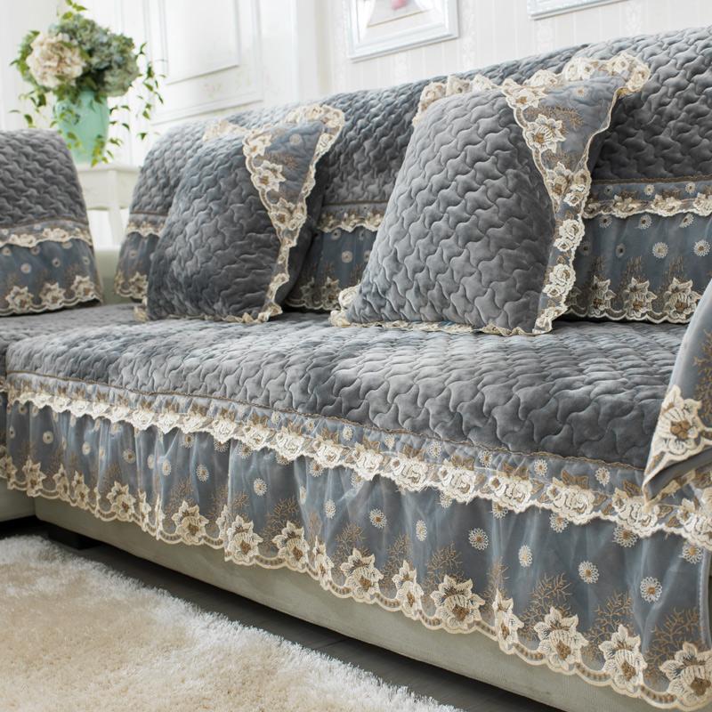 四季家用短毛绒通用沙发垫套洋气灰色欧式简约现代冬季防滑全盖巾