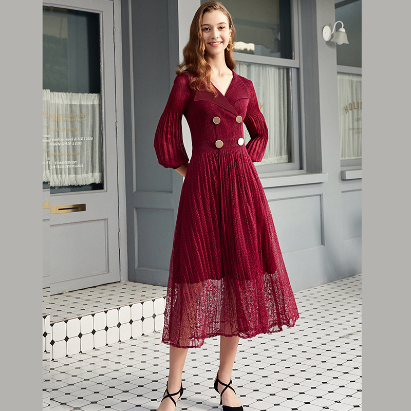 Pleated suit collar formal occasion dignified temperament dress womens spring three house mesh Lantern Sleeve FOUR BUTTON DRESS