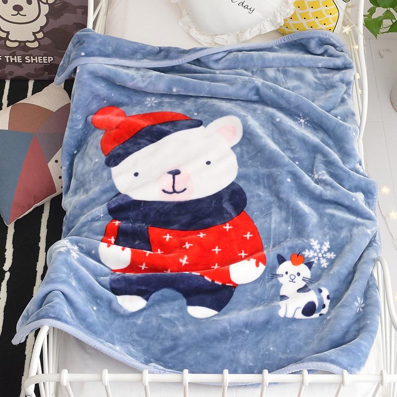限6000张券儿童毛毯双层加厚毛巾被珊瑚绒毯子婴儿午睡空调盖毯床单人小被子