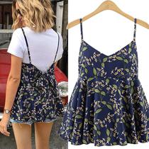 韩国2020春夏新品女装大码碎花背心上衣外穿蝴蝶结系带可爱吊带衫