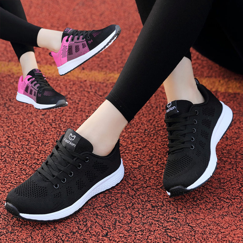 夏季新品运动鞋女鞋跑步鞋网面透气轻便旅游鞋女学生软底休闲鞋女