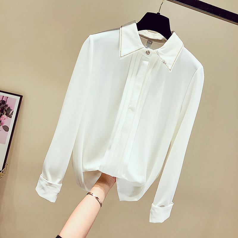2019秋季季新款韩版白色衬衫刺绣雪纺衫修身上衣女长袖