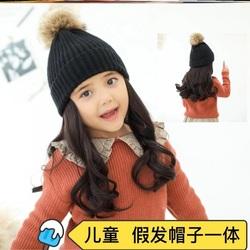 自然卷发秋冬英伦韩版公主儿童假发帽子一体造型时尚春秋长发复古
