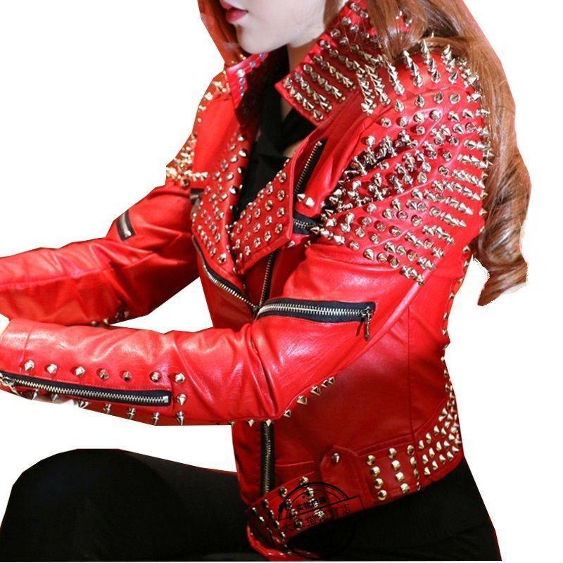 铆钉机车朋克皮衣外套  女红镶嵌皮革摩托车夹克短款时尚潮