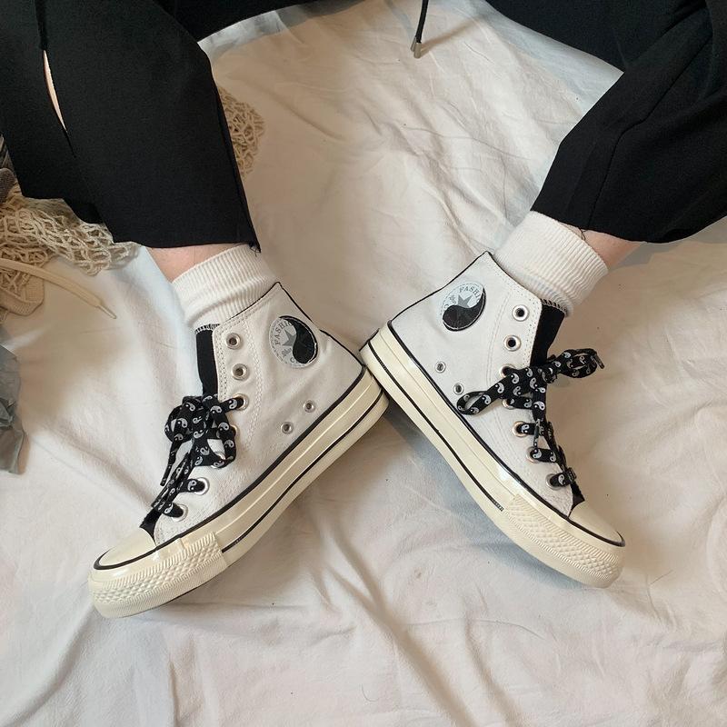 39.90元包邮1970s复刻黑白阴阳太极高帮帆布鞋