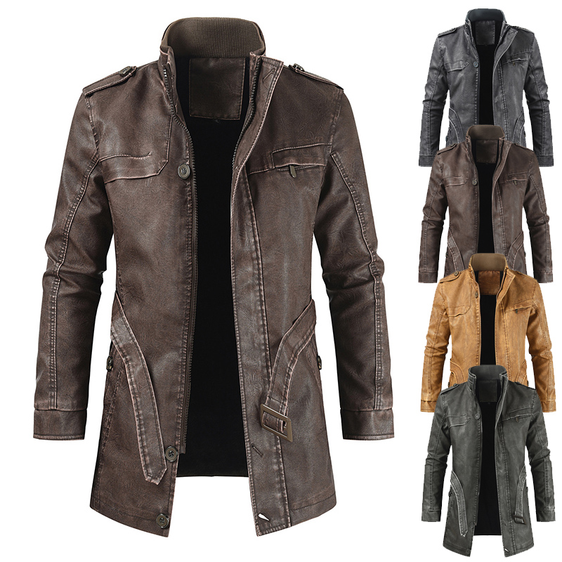 2019 retro mens trend casual stand collar medium length slim leather jacket jacket jacket for young students