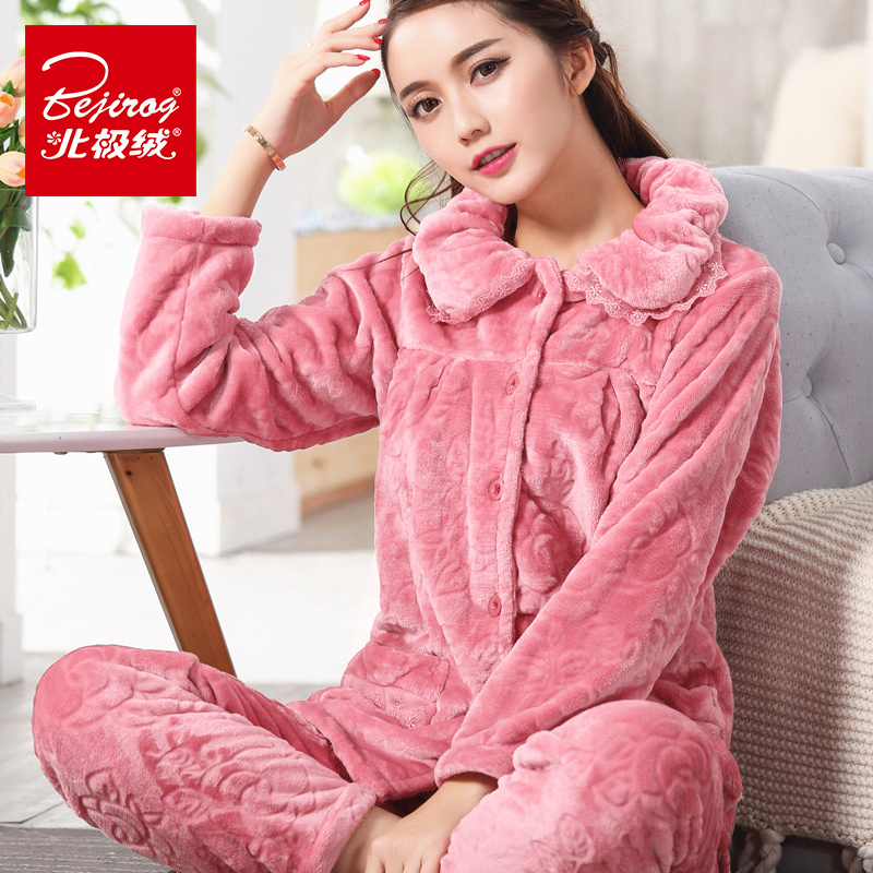 Arctic cashmere autumn and winter thickened pajamas womens flannel long sleeve womens pajamas plus size leisure home suit