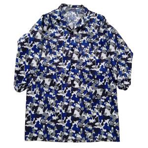 厂家直销处理宽松版加肥蓝工作服白大褂迷彩罩衣做事穿的防护服