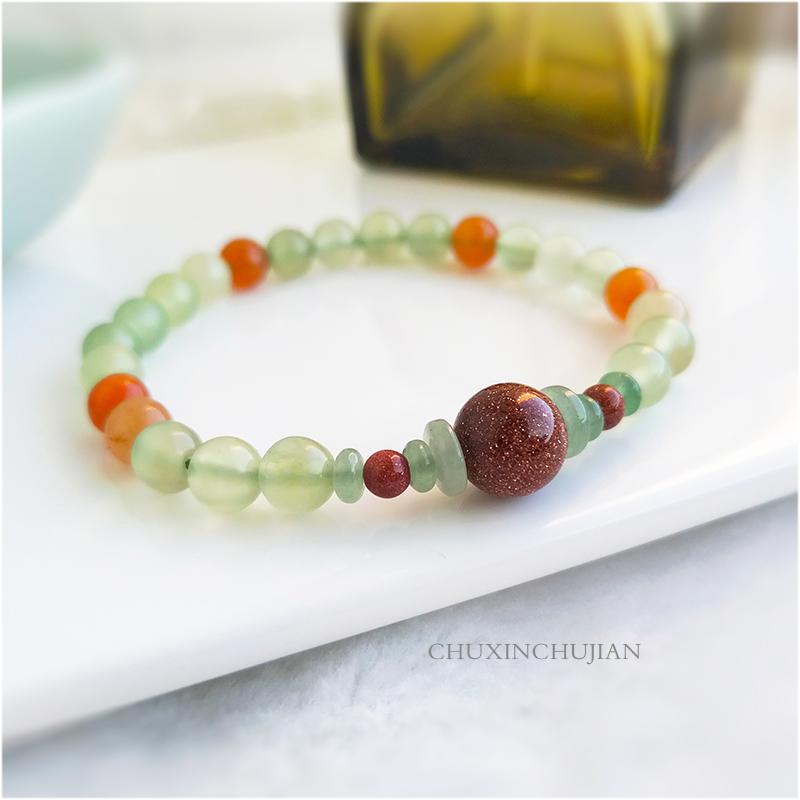 Natural Xiuyan Jade Bracelet semi gem bracelet Jewelry womens national retro jewelry is simple, versatile and sweet