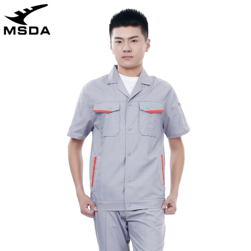 Summer workshop work uniform men and women anti-static cotton electrical clothing suit, construction site wear-resistant clothing thin