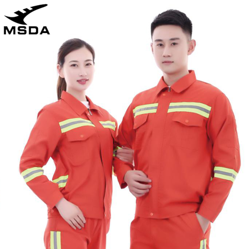 Spring and autumn 2020 long sleeve cotton antistatic work clothes cleaning logistics reflective work clothes men and women uniform set