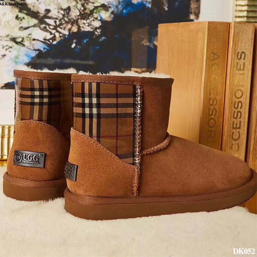 澳中双仓发货秋冬英伦格子女士防水羊毛加厚防滑短筒雪地靴DK052