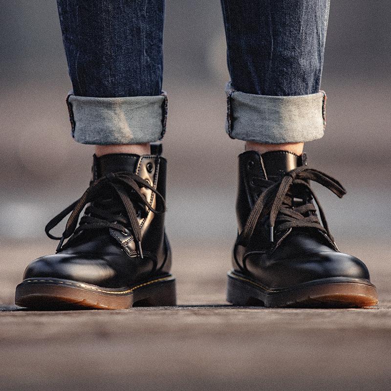 黑色马丁靴秋季百搭男真皮靴子潮鞋