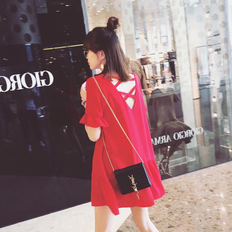 夏季小个子雪纺露背宽松红裙沙滩裙138.00元包邮